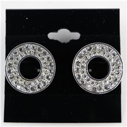 Ladies Fancy Earrings with 40 Bezel Round Swarovsk