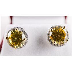 925 Silver Canary Swarovski Elements Stud Earrings