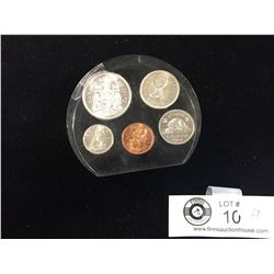 1964 Silver 50,25 and 10 cents + 5cent, and Penny in a Plastic Case