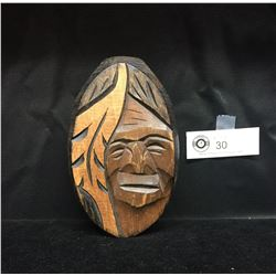 Carved First Nations Wooden Net Float. Signed. 3.5 x 3.5x6""