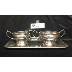 1913 Poultry Show Trophy. Cream and Sugar Bowls on a Platter