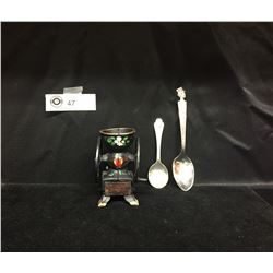 Vintage Charlie McCarthy and Gerber Baby Spoons Plus a Cast Iron Mini Coffee Grinder