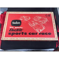 1960 Tudor Elictric Sports Car Race with 3 Cars and Official Rule Book. 27.5 x 16.5 x 2.5