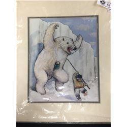 William Kurelek Inuit Print. Sealed in Bag. Back has Story about The Aritist. 14x16