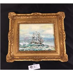 """Vintage Painting of a Ship at Sea by Les Brown 15"""" x 13"""""""
