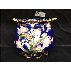 "A Very Nice Antique Victorian Blue Glaze Flower Pot in Beautiful Shape. 10"" Diameter. 8"" Tall"