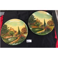 2 Hand Painted Plaques of an Old English Manor House Painted by W.H. Bossons. Cheshire England