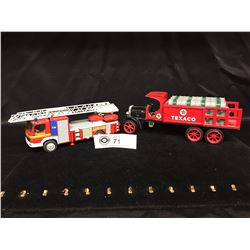 2 Die Cast Trucks. 1:24 Scale. Fire Truck and Texaco Coin Bank Truck