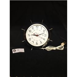 "Vintage Canadian 1950's Electric Wall Clock Ship's Wheel Design. 9.5 "" Diameter in Good Working Cond"