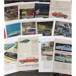 12 Different Car Advertisments from the 1950's and 60's All in Protective Sleeves