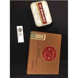 Old 10¢ Wooden Cigar Box and a St. Buno Tobacco Tin