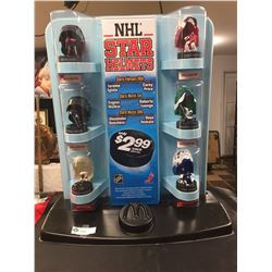 2008 McDonalds NHL Star Helmets Store Display. 23.5 w x 26.5 H