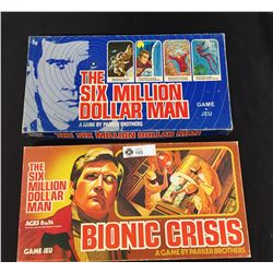 Vintage 1975 Parker Brothers The Six Million Dollar Man Board Game PLUS 1976 Bionic Crisis Board Gam