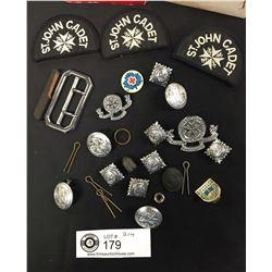 Vintage Lot of St. John Cadet Patches,Buttons,Cap Badge etc