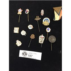 Lot of 14 Vintage Sports Related Pins from Europe 1920's-30's