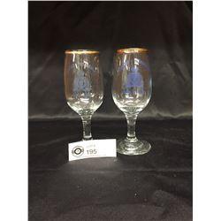 2 RCMP Gold Rimmed Drinking Glasses Agassiz Detatchment