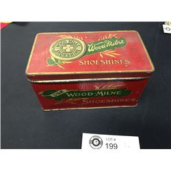 1930's Wood Milne Shoe Shiner's Tin With Contents