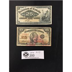 1900 and 1923 Canadian 25 Cent Banknote ( Shinplaster)