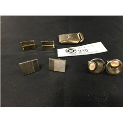 3 Pairs of Vintage Cufflinks and Buckle. 1 Pair is Mother of Pearl Inlay