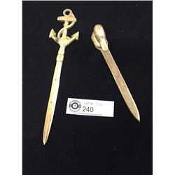 2 Old Brass Letter Openers