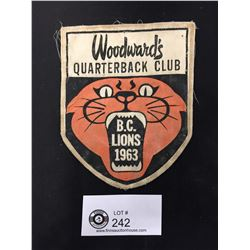 1963 BC Lions Woodwards Quarterback Club Patch