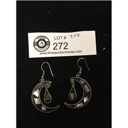 Pair of Shell Inlaid Silver Earrings