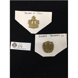 2 Canadian Military Cap Badges Queen's Rangers  1st Regiment De Hull