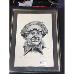 Nice Framed Peppito The Clown Picture 71-200 By Michael Grow 28.5 x 25.5