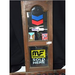"""Vintage Cabinet Door with Vintage Stickers on it. Great Man Cave Decoration 15: x 36"""""""