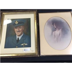 """2 Big  Vintage Pictures Canadian Military Officer and a Lady 17.5"""" x 22"""""""
