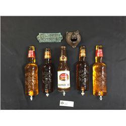 5 Beer Taps Bearface Wall Mount Bottle Opener Plus A BS Corner Sign. Sleeman Okanagan Springs