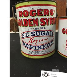 2 Rogers Golden Syrup Tins 5lbs and 10lbs. Vancouver BC . BC Sugar Refinery