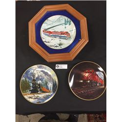 3 Decorative Train Plates with one of them being BC Railway. In a frame