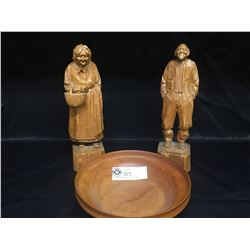 Vintage Wood Carved Man and Woman Figures from Quebec and a Hand Crafted Wooden Bowl