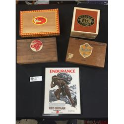 4 Vintage Cigar Boxes and a Red Indian Motor Oil Advertisment in a Frame 1932