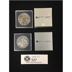 1982 and 1990 Royal Canadian Mint Silver Dollars in the Original Packages