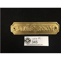 "Ships Brass Mounting Plate With Mounting Screws  5.5"" w x 1.5"" H  "" State Room"""