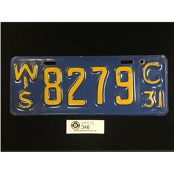 1931 Wisconsin License Plate Great Colour!