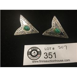 2 Silver Tips with Green Stones for Leather Belt Ends