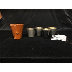 Vintage Leather Case with 4 Travel Size Shot Glasses. Also Known as Stirrup Cups. Made in England. B