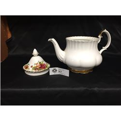 Royal Albert Old Country Rose Teapot Lid and Royal Albert Vald'or Teapot, With No Lid