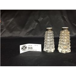 Czech Crystal Salt and Pepper Shakers with Sterling Silver .925 Lids