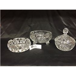 3 Lead Crystal Dishes. Bowl, Lidded Bowl and Ashtray. No Chips or Cracks