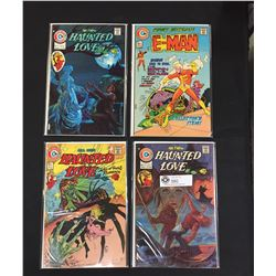 4 Charlton Comics. 3 Haunted Love Vol. 6,8,9 Plus Volume 1 E-Man. First Edition. On White Boards and