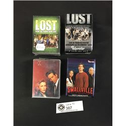 4 Bundles of Trading Cards. Lost Season 3, Lost Revelations, X Files, and Smallville