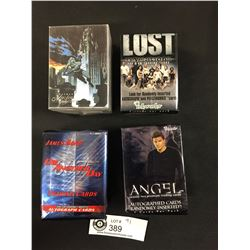 4 Bundles of Trading Cards Batman Masterseries, Lost Revelations, Angel, and James Bond. Die Another