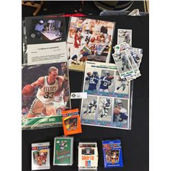 Sports Card Lot and Autographed Photo with COA. Unopened Packs