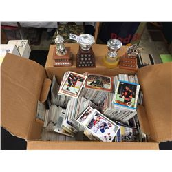 Box Full of Hundreds of 1980's and 90's NHL Trading Cards Plus 4 McDonald's Replica NHL Trophies