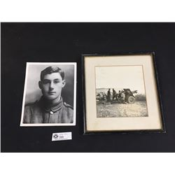 2 Military Photos. One WWII Shooting a Cannon and the other 8x10 of SGT Thomas Ricketts