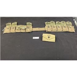 Nice WWII 1943 US Army Ammo Belt. Plus US Army Small Pouch. First Aid?